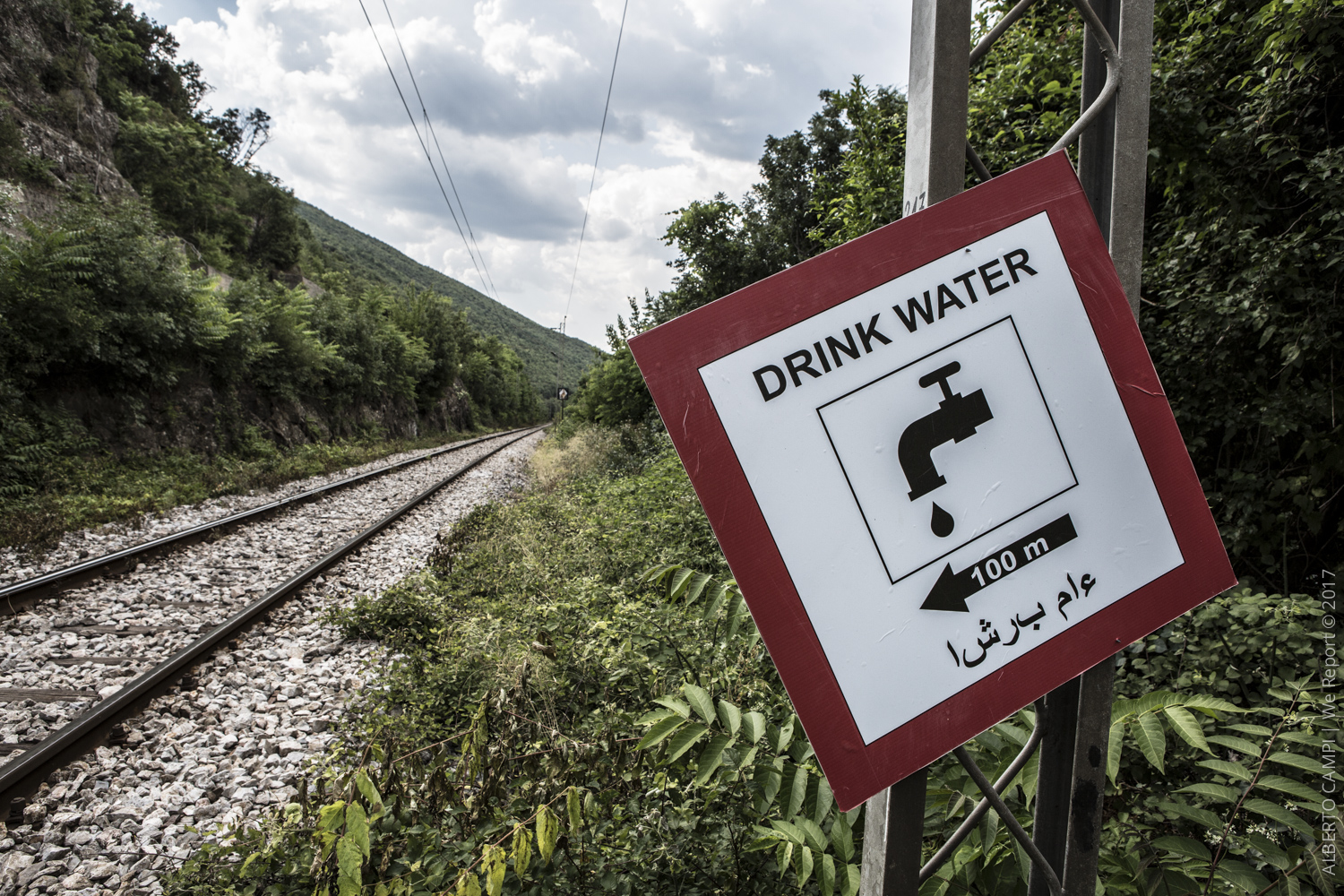 Example of sign on the railway. Udovo, FYROM (Republic of Macedonia). 2015