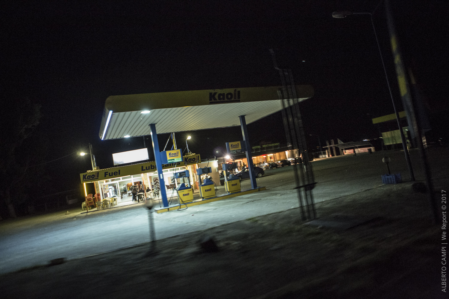 Gas station of the Hara Hotel after the police control. Evzonoi, Greece. 2015